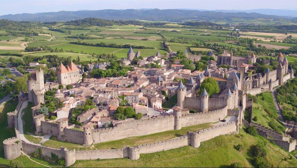 Cité de Carcassonne vue aerienne