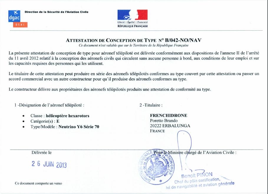 Certification Frenchidrone.com Drone Neutrino Y6 360