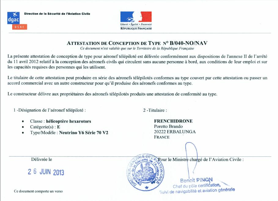 Certification S3 Frenchidrone.com Drone Neutrino Y6 V2