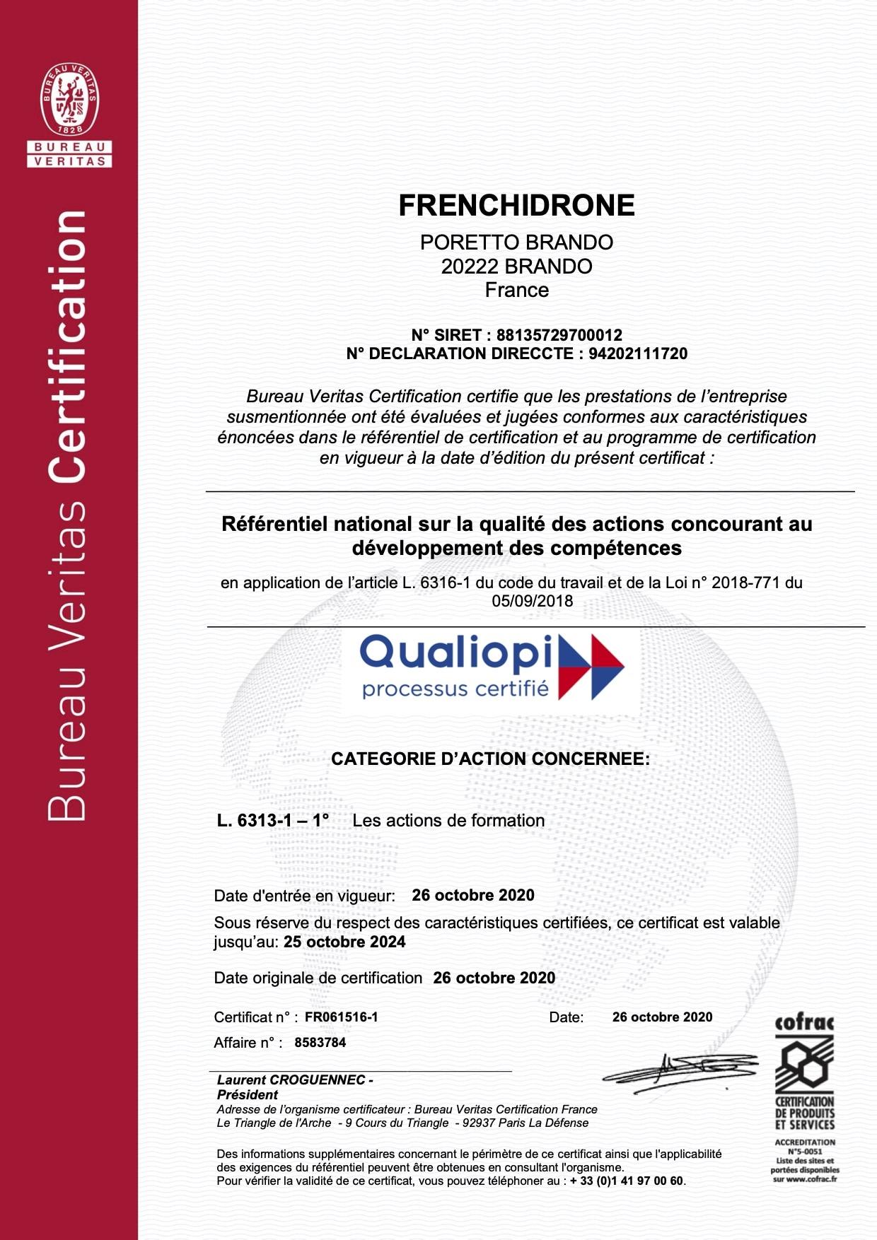 Certification QUALIOPI Frenchidrone SAS